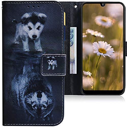 CLM-Tech Hülle kompatibel mit Motorola Moto E6 Plus - Tasche aus Kunstleder - Klapphülle mit Ständer & Kartenfächern, H& Wolf schwarz weiß