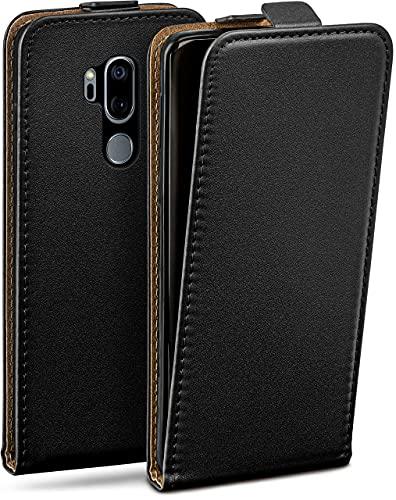 moex Flip Hülle für LG G7 ThinQ / G7 Fit - Hülle klappbar, 360 Grad Klapphülle aus Vegan Leder, Handytasche mit vertikaler Klappe, magnetisch - Schwarz