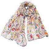 CMTOP Bufanda de Seda Fular de Mujer Bufanda Pañuelo Cuello Mujer Elegante Manton Estampado de flores y animales
