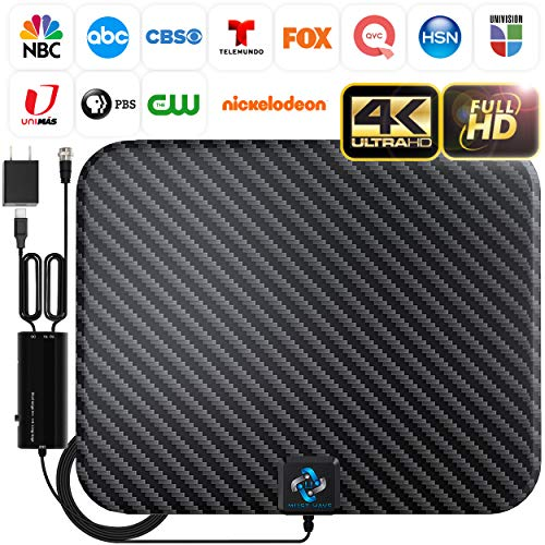 U MUST HAVE Amplified HD Digital TV Antenna Long 250 Miles Range - Support 4K 1080p and All TV's - Indoor Smart Switch Amplifier Signal Booster