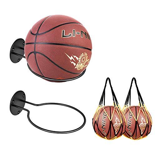 JJDPARTS 2er Pack Sportballhalter Wandhalterung mit 2er Pack Basketball Netzbeutel für Basketball Volleyball Rugby Soccer (2er Pack)