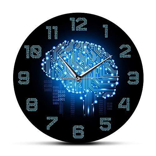 yaoyao Muur Klokken Voor Woonkamer Moderne Binaire Code Art Intelligentie Hersenen Muur Klok Stille Beweging Muur Horloge Bedrijf Office Decor Hersenkringloop Board Kunst Eenvoudige Installatie En Pretty Stabiel