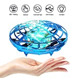 UFO Flying Toys for Kids, PerfectPromise Hand Controlled Mini Drone UFO Toy with 360° Rotating and LED Lights for Children Boys Girls---Blue
