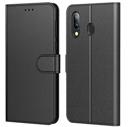 """Tenphone Etui Coque pour Huawei P Smart 2019, Protection Etui Housse en Cuir Portefeuille Livre,[Emplacements Cartes],[Fonction Support],[Languette Magnétique] pour (P Smart 2019 (6,21""""), Noir)"""