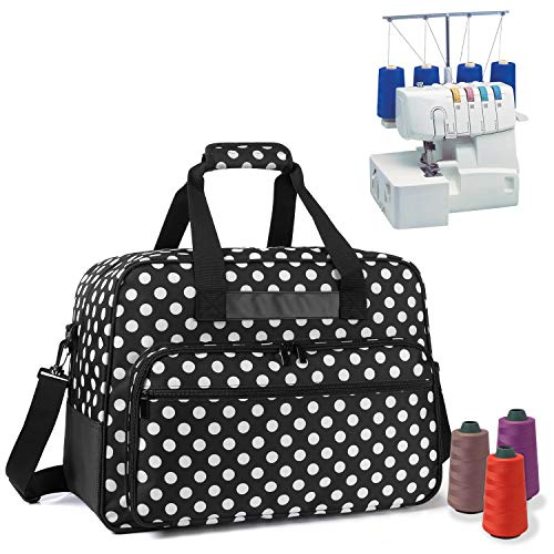 Yarwo Serger Carrying Case, Universal Overlock Sewing Machine Tote Bag with Anti-Slip Padded Bottom for Most Standard Overlocker Machine and Supplies, Black Dots
