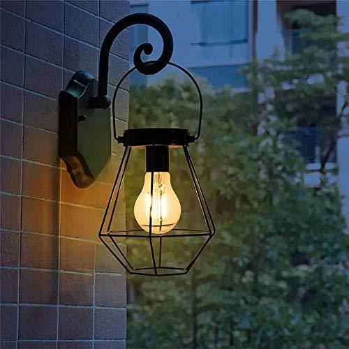 NBHUYT Solar Powered LED Garden Yard Lamp Decor Solar Powered Vintage LED Lantern Hanging Pathway Lighting (Color : Black, Size : 6.5x10.4'')