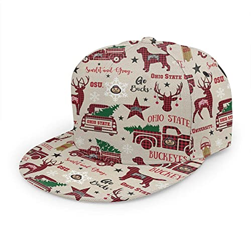 WgAmin Ohio State Christmas Reindeer Women Men Adjustable Snapback Baseball Cap, Hip Hop Hat Flat Brim Black