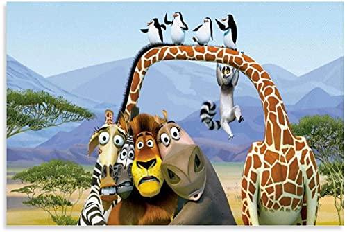DINGDONG ART Pintura De La Lona 30x50cm Sin Marco Dibujos Animados pingüinos de Madagascar Cartel Decorativo Arte de Pared Carteles de Sala de Estar Dormitorio