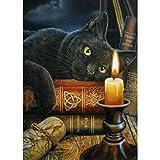 WOWDECOR - Kit per pittura a mosaico 5D, motivo: gatto nero, libro con candela, animali luminosi, fai da te