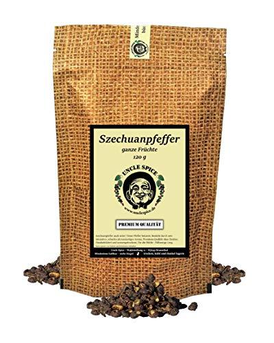 Uncle Spice Szechuan Pfeffer, Timut-Pfeffer - 120g Szechuanpfeffer - Premiumqualität - Timutpfeffer aus Nepal, ganze handgepflückte Pfefferbeeren, echte Wildsammlung, fruchtiger Grapefruitpfeffer