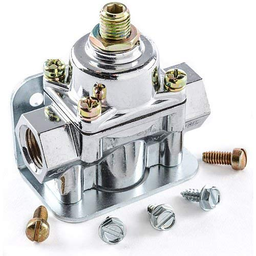 JEGS Fuel Pressure Regulator | 1 to 4 PSI | Gasoline Only | 3/8 Inch Inlet & Outlet Ports | Chrome | Includes Mounting Bracket