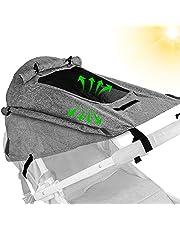 Sonnensegel Kinderwagen,Sonnenschutz für Kinderwagen UV-Schutz für Buggy,Kinderwagen Zubehör mit Sichtfenster und UV-Schutz 50+ und Wasserdichtem,Verstellbarem Sonnenschutz für Kinderwagen Buggy(Grau)
