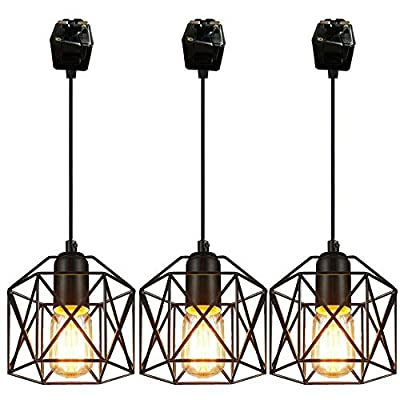STGLIGHTING 3-Pack J-Type Track Lighting Pendants Chandelier Decorative Iron Square Bulb Cage Pendant Light Industrial Factory Juno Compatible Track Light Industrial Customizable,0.82ft Wire