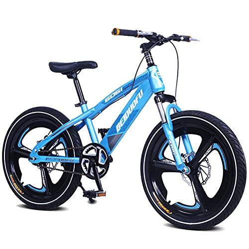 Mountain bike per bambini, 20 pollici, ruota integrata in lega di magnesio, BMX e bicicletta, freno anteriore e posteriore a doppio disco, forcella anteriore ammortizzante (blu)