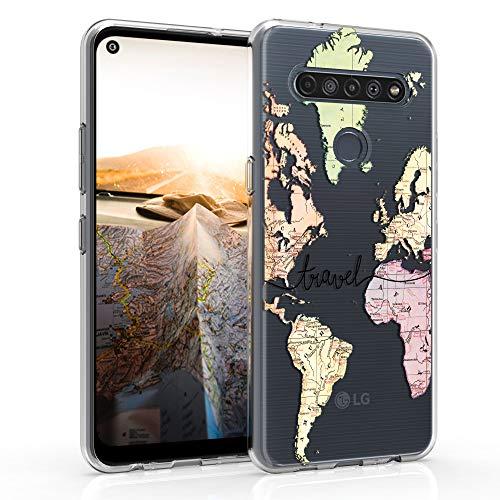kwmobile Hülle kompatibel mit LG K61 - Hülle Handy - Handyhülle - Travel Schriftzug Schwarz Mehrfarbig Transparent