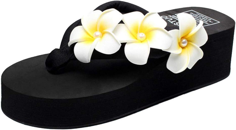 MISS LI Flip Flops Damenmode-Sandalen Blüht Dicke Untere Schwammhausschuhe Mit Perlen Und Handgenhten Strandschuhen Mit Blaumen,schwarz-35
