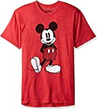 Disney Men's Full Size Mickey Mouse Distressed Look T-Shirt, Red Heather, Large