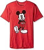 Disney Full Size Mickey Mouse Distressed Look T-Shirt Camiseta, Rojo Jaspeado, L para Hombre