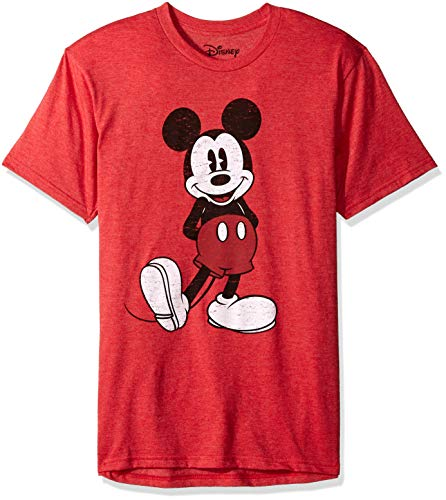 Disney Men's Full Size Mickey Mouse Distressed Look T-Shirt, Red Heather, Medium