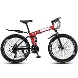 FGKLU 26 Pouces Adulte Vélo de Montagne Pliant, 40 Couteaux Roue Unisexe VTT Pliable Bike Cadre en Acier À Haute Teneur en Carbone, 21 Vitesses, Absorption Chocs,Rouge