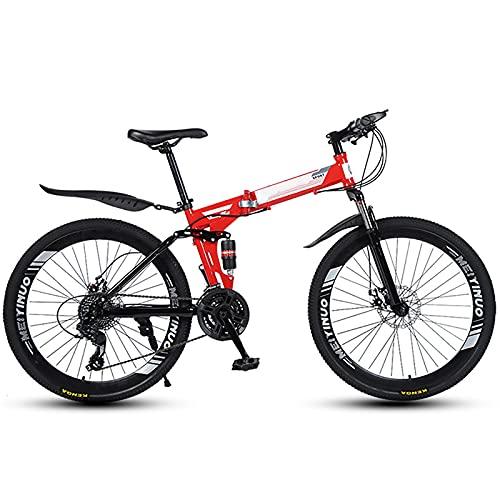 FGKLU 26 Pouces Adulte Vélo de Montagne Pliant, 40 Couteaux Roue Unisexe VTT Pliable Bike Cadre en...