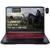 2021 Premium Acer Nitro 5 15 Gaming Laptop 15.6' Full HD IPS 9th Gen Intel 4-Core i5-9300H(Beats i7-7700HQ) 32GB DDR4 1TB SSD 1TB HDD 4GB GTX 1650 Backlit KB Win 10 + iCarp Wireless Mouse