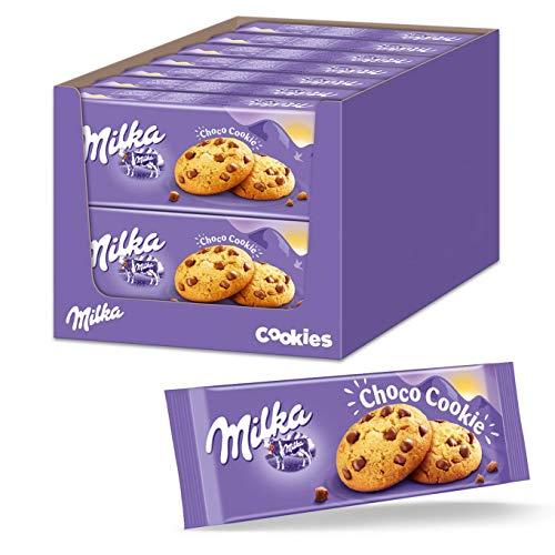Milka Choco Cookies 7 x 168 g, ciasteczka mleczne z kawałkami czekolady alpejskiej, pyszne przekąski z czekoladą