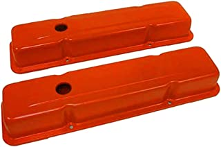 1958-86 Chevy Small Block 283-305-327-350-400 Short Steel Valve Covers - Orange