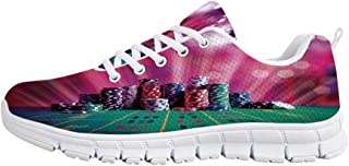 YOLIYANA Poker Tournament Decorations Sport ShoesStack of Gambling Chips Success Wealth Winner Lucky Betting Decorative Sneakers for Girls Womens,US 5