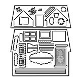 Koehope - Fustelle a forma di casa, in metallo, colore argento, per decorazioni fai da te, album per scrapbooking, scrapbooking, stencil da taglio, carte, album da collezione