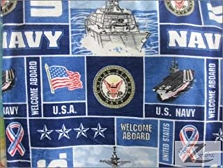 US NAVY MILITARY PRINT POLAR FLEECE FABRIC 60