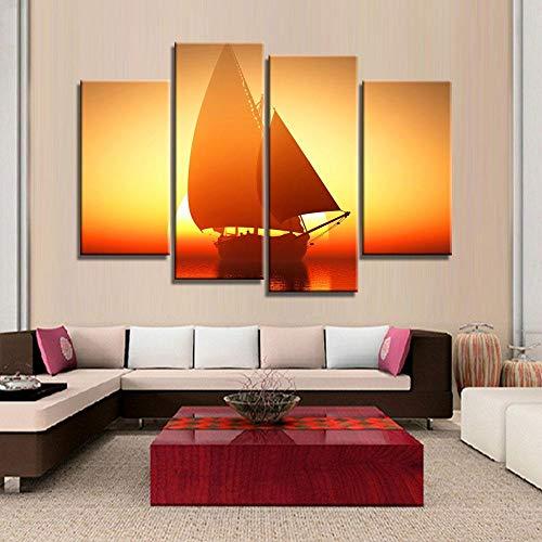 ANTAIBM® 4 Wandkunst-Malplakat Holzrahmen - verschiedene Größen - verschiedene Stile4 Stück Wandkunst Gemälde Fantasy Schiff Segelboot In Lake Sunset Drucke auf Leinwand Öl für Home Modern Decoration