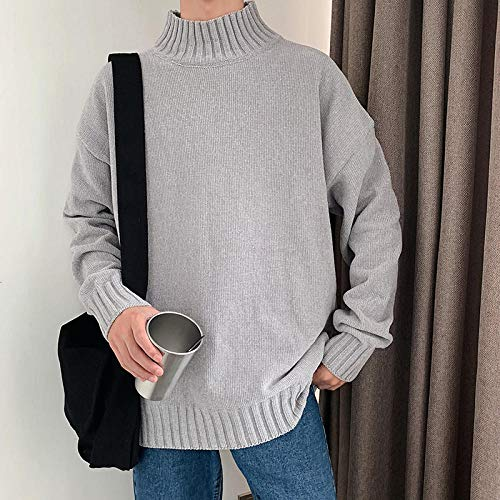 JFHGNJ Heren Coltrui Winter Mode Gebreide Coltrui Heren Winter Coltrui Man Pullover-licht grijs_IT
