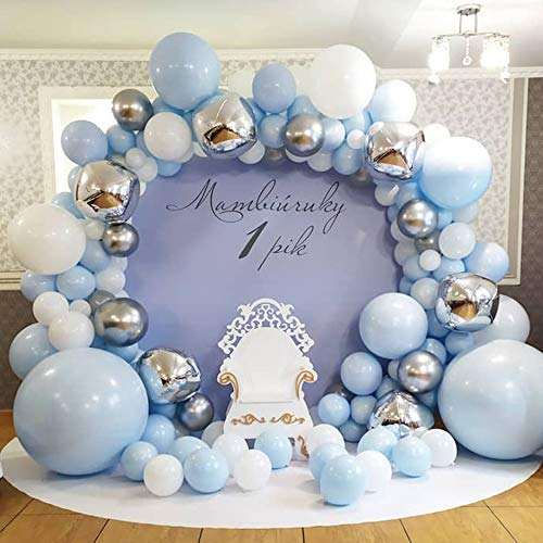 GIHOO Blue Balloon Garland Arch Kit, 135pcs Blue White Silver Chrome Metallic Balloons,4D Silver Balloons for Wedding Bridal Shower Birthday Party Baby Shower Decoration