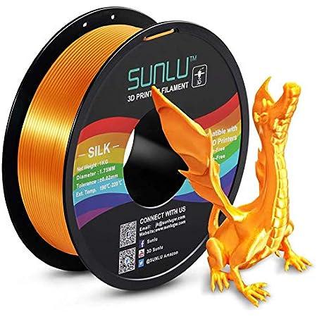 SUNLU Silk PLA Filament 1.75mm, 3D Printer Filament Silk, Silky Shiny Filament PLA for 3D Printers and Pens, 1kg(2.2Lbs)/Spool, (Silk Brass)