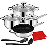 LeFroom Kitchen Stainless Cookware Set 11 Piece Nonstick Stainless Steel Pan and Pots Set, Five-layer Structure, Thicken and Durable