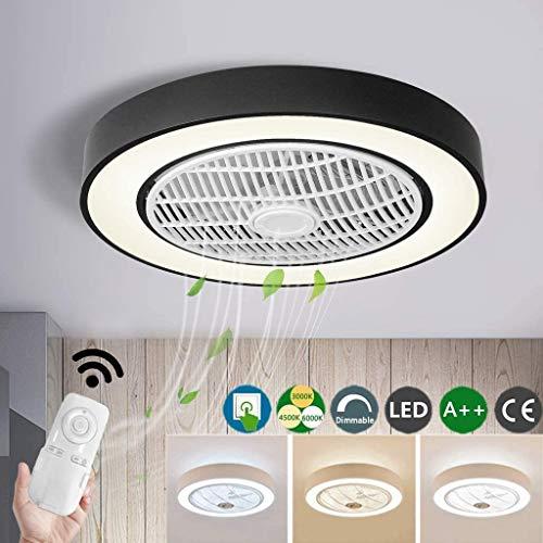 Fan Deckenleuchte LED Deckenventilator Mit Beleuchtung Dimmbar Mit Fernbedienung 60W Deckenlampe Einstellbare Windgeschwindigkeit Moderne Kreative Ultra-Leise Wohnzimmer Schlafzimmer Fan Lampe,Schwarz