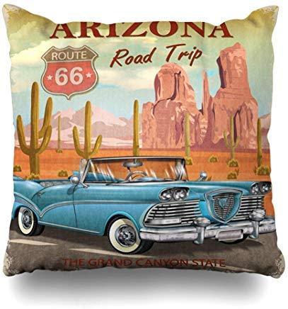 GFGKKGJFF0812 Fundas de cojín para asientos de sofá, diseño de cactus turísticos, estilo vintage, estilo Arizona, para viajes en carretera, garaje, deportes, recreación, coche, retro, americano, 18 x 18 pulgadas