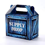Supply Drop Party Favor Box - 25 Count Party Treat Boxes - Battle Gamers Goodie Loot Drop Box - Blue Crate Party Supplies Gamer Decorations High Quality (25 Boxes)