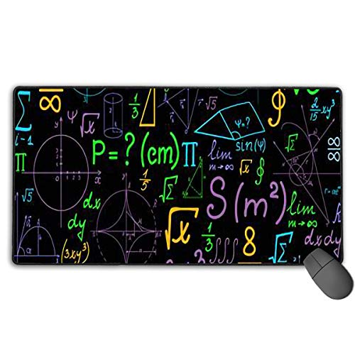Grote Gaming-muismat, wiskundige vergelijking muismat met antisliprubberen basis voor laptop, duurzame gestikte randen