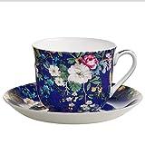 Maxwell & Williams wk09300Kilburn Petit Déjeuner Tasse avec Soucoupe, Floral Muse, boîte Cadeau, Porcelaine, Bleu/Multicolore, 2unités