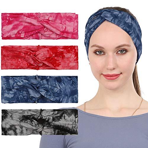 Folora 4 szt. opaska na czoło do krawata dla kobiet, węzeł skręcony turban szalik na głowę z boho kwiatowy, elastyczne akcesoria do włosów do biegania i jogi