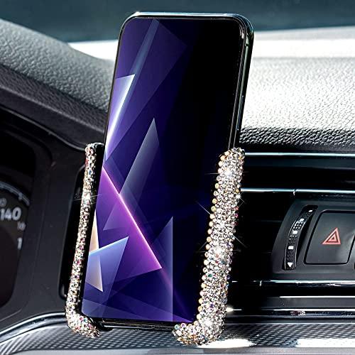 Soporte de Teléfono de Coche Brillante Mini Soporte de Móvil de Ventilación Aire Automático 360 ° Ajustable Accesorio de Coche Universal Conveniente de Cristal Diamantes Imitación (Blanco)