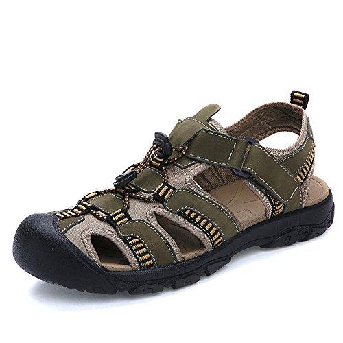 YANGFAN Zapatos de Cuero, Zapatos Casuales, Trabajo, al ai Sandalias para Hombre, Playa de Verano Cuero de Vaca Transpirable, Velcro Feet MAX 48 (Color : Army Green, Size : 45 EU)