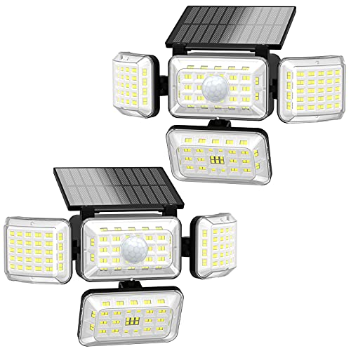 Solar Lights Outdoor, 250 LED 2500LM Security Motion Sensor Flood Light with 4 Adjustable Heads, IP67 Waterproof, 3 Modes & 300° Wide Angle Smart Outside Wall Light for Garden Pathway Garage, 2 Pack
