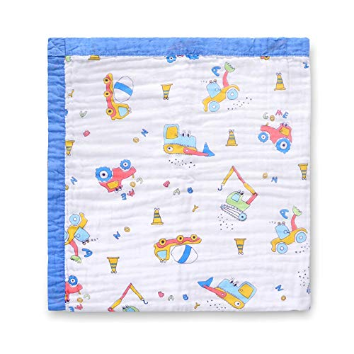 Jay & Ava Muslin Cotton Baby Blanket for Newborn & Toddler, 4 Layers, Super Soft, Hypoallergenic, Breathable Quilt, Stroller Blanket, Nursery & Crib Blanket, Shower Gift, 42' x 42' (Blue Digger)