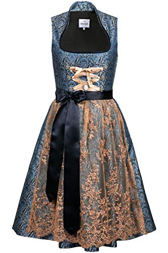 Edelnice Trachtenmode Bavarian Women's Designer Midi Dirndl Estelle Dress 2-Pieces + Apron Size US2-US24 (34 (US4)) Dark Blue