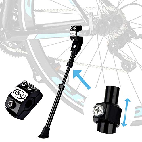 QHYK Bike Fahrradständer, Schlanker Typ Seitenständer Faltbarer, Höhenverstellbar Verstellbarer mit Anti-Rutsch Gummi-Fuß, für Jugendrad und Klapprad Raddurchmesser 16-28 Zoll