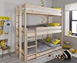 Noa and Nani - Henrik Triple Sleeper Bed Bunk Bed - (Natural Pine)