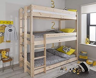 Noa and Nani - Henrik Triple Sleeper Bed Bunk Bed - (Natural Pine)